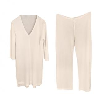 Hermes Cream Cashmere & Silk Knit Lounge Set