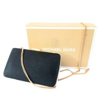 Michael Kors Black Saffiano Leather Box Clutch on Chain