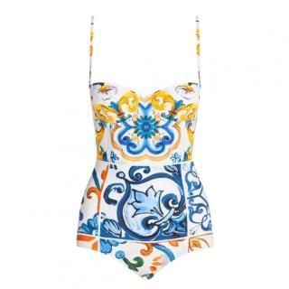 Dolce & Gabbana Majolica Print Balconette Swimsuit