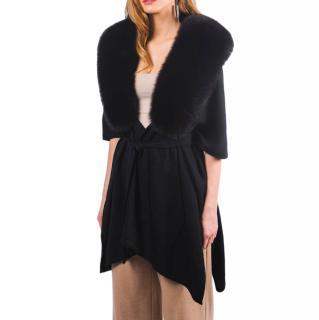 FurbySD Black Merino Wool Fox Fur Trim Wrap