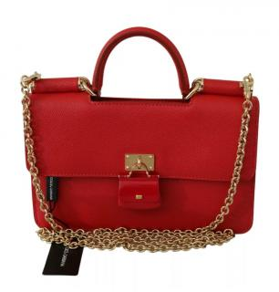 Dolce & Gabbana Red Leather Sicily Phone Wallet on Chain