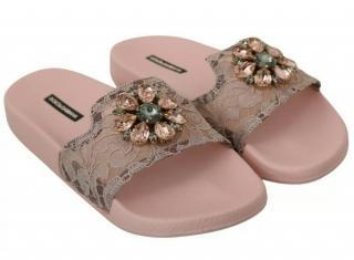 Dolce & Gabbana Powder Pink Lace Crystal Embellished Slides