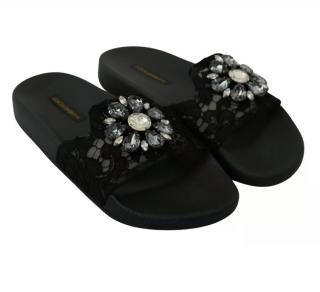 Dolce & Gabbana Black Lace Crystal Embellished Slides