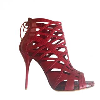Dior by John Galliano Leather & Python Red Caged Booties
