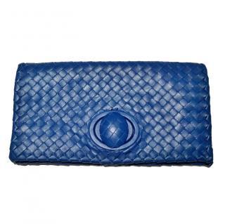 Bottega Veneta Blue Intrecciato Leather Clutch