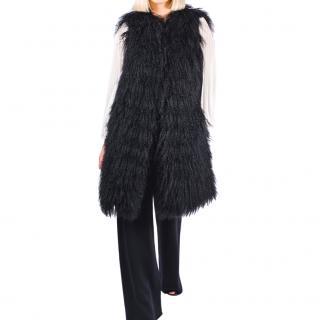 FurbySD Black Mongolian Lambs Fur Longline Gilet