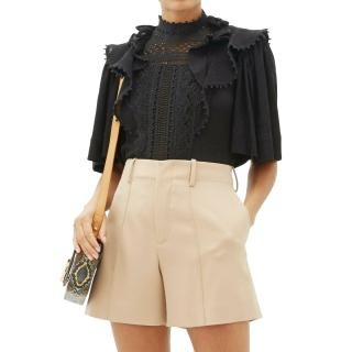 Isabel Marant Black Ruffled Lace Loleya  Blouse
