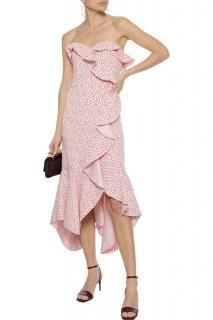 Jonathan Simkhai stretch-crepe pink printed ruffle dress