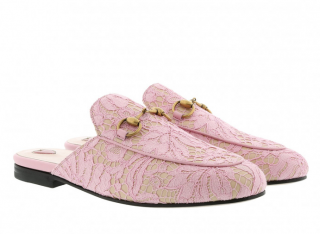 Gucci Princetown Rose Pink Lace Slipper