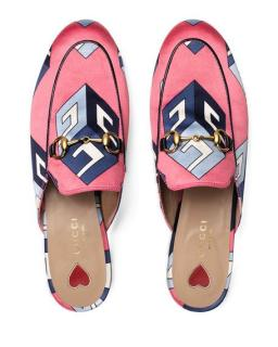 Gucci Pink Satin Geometric Print Princetown Slippers