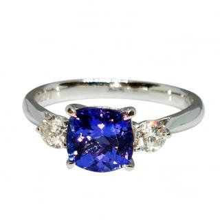 Bespoke Tanzanite & Diamond Trilogy 18ct White Gold Ring
