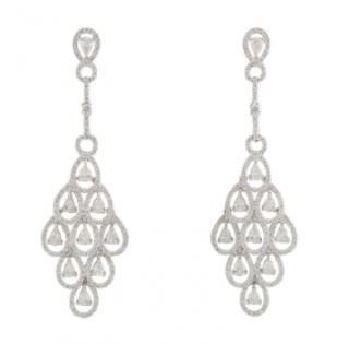 Bespoke White Gold & Diamond Chandelier Earrings