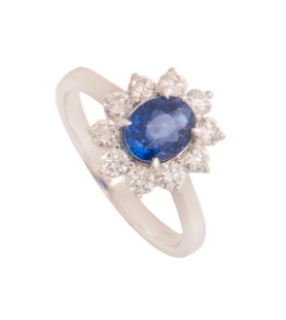 Bespoke White Gold Sapphire And Diamond Ring