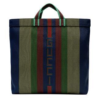 Gucci Striped Woven Logo Tote Bag Unisex