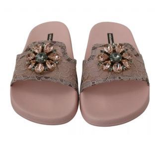 Dolce & Gabbana Dusty Pink Lace Slides