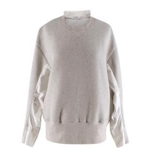 Sacai Luck Grey Jersey & Poplin Sweater