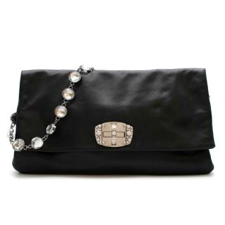 Miu Miu Black Leather Crystal Fold Over Clutch Bag