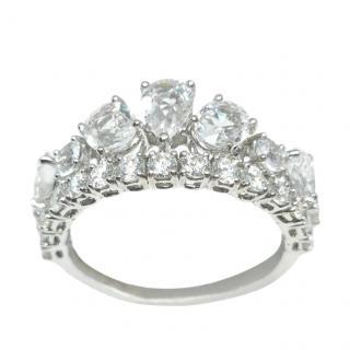 William & Son White Sapphire/Diamond 18ct White Gold Tiara Ring