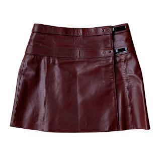 Belstaff Leather Burgundy Wrap Skirt
