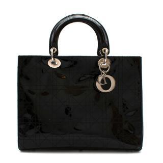 Christian Dior Black Patent Leather Large Lady Dior Bag