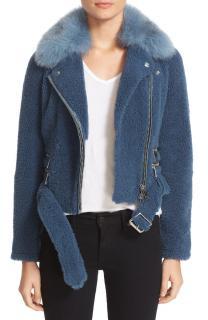 Burberry Barrsthorpe Shearling Moto Jacket with Fox Fur Collar