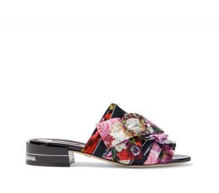 Dolce & Gabbana Floral Print Crystal Embellished Slides