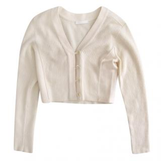 Narciso Rodriguez Angora Wool Blend Crop Cream Cardigan