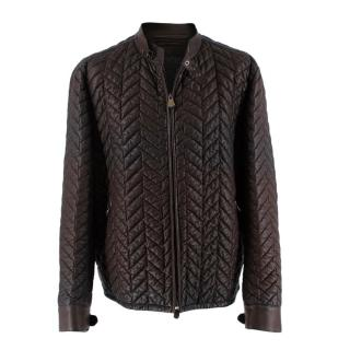 Berluti Brown Lambskin Chevron Leather Jacket