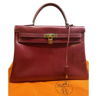 Hermes Bordeaux Box Leather Vintage Kelly Retourne 35 GHW