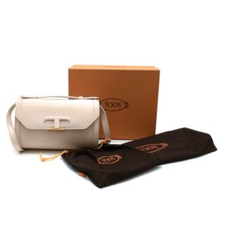 Tods Off White Leather T Timeless Crossbody Mini Bag