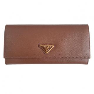 Prada Brown Saffiano Leather Wallet