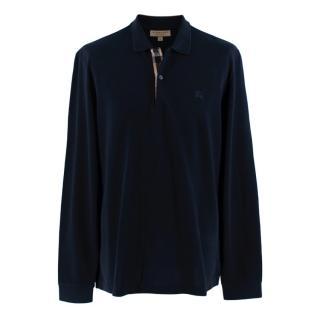 Burberry Navy Cotton Long Sleeve Polo Shirt