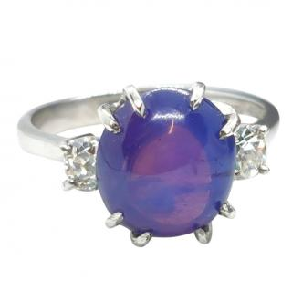 David Simmons Diamond & Star Sapphire White Gold Ring