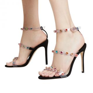 Sophia Webster Black Suede & Vinyl Rosalind Crystal Sandals