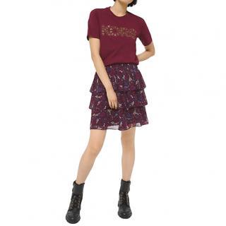 Michael Michael Kors Ruffled Burgundy Printed Skirt