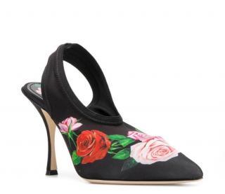Dolce & Gabbana Rose Print Stretch Slingback Sandals