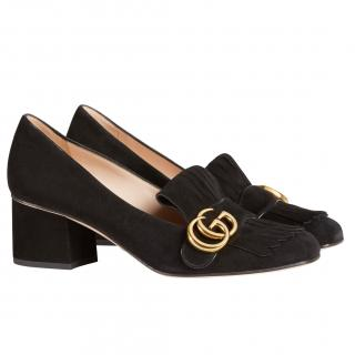 Gucci black suede fringed loafers