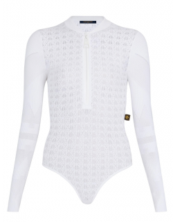 Louis Vuitton White Openwork Lace Knit Bodysuit