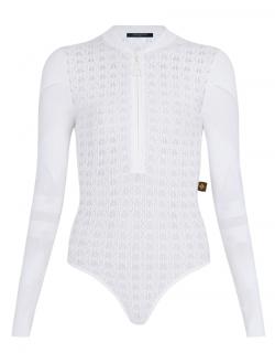 Louis Vuitton White Openwork Lace Knit Bodysuit