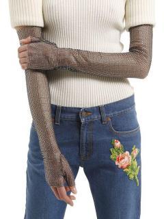Gucci Crystal Embellished Mesh Runway Long Gloves