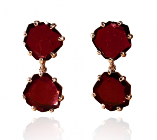 Annoushka Shard 18ct Rose Gold Garnet Drop Earrings