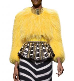 Balmain Collarless Yellow Raccoon Fur Top