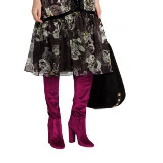 Aquazzura Cranberry Velvet So Me Over The Knee Boots