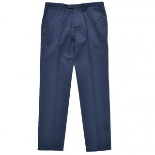 Gucci Blue Mens Embroidered Stretch Cotton Pants