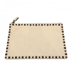 Valentino Cream Rockstud Leather Pouch
