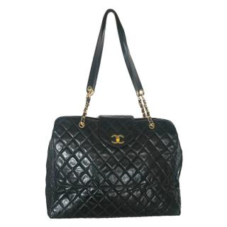 Chanel Black Leather Jumbo Quilted Travel Bag