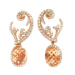 William & Son 18ct Rose Gold Morganite & Diamond Earrings
