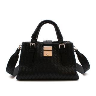 Bottega Veneta Black Leather Small Roma Bag