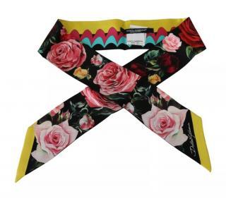 Dolce & Gabbana Multicoloured Floral Print Silk Twilly