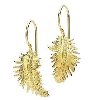 Dower & Hall Gold Tone Feather Earrings